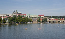 View of river Slavia in Prague Stock Image