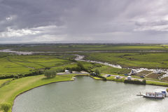 View of the river and Somerset levels near Weston Super Mare Stock Photo