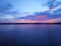 View of the river and the sunset. Dnieper River, Ukraine royalty free stock image
