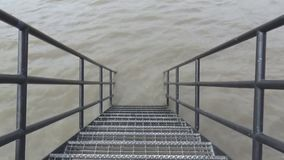Staircase and river stock footage