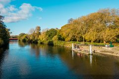 View of River Taff and Cardiff Bute Park in Autumn. View of the river taff, public Bute Park and the water bus stop at the public and government owned Cardiff Stock Photo