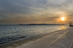 View of the River Tagus in Lisbon. Portugal, at sunset Royalty Free Stock Photo