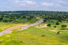 View of the river in the Tarangire Park, Tanzania Royalty Free Stock Photo