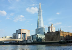 London Skyline with Shard. View from the River Thames across the Embankment with The Shard rising high above the other waterfront buildings. The Shard royalty free stock photography