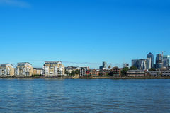 The view of river Thames and Canary Wharf in London, UK seen from Greenwich. The view of river Thames and Canary Wharf business centre in London, UK seen from Royalty Free Stock Image