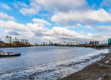 View of The River Thames from Greenwich, London - UK. Feb 2018 Stock Images