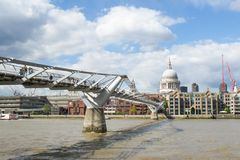 A view of St. Paul`s Cathedral and Millennium bridge Stock Image