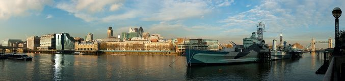 View of River Thames and HMS Belfast Royalty Free Stock Photos