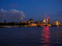 View of the River Thames with Lambeth Bridge and the architectural buildings of the south bank at night. View of the River Thames with Lambeth Bridge and the Royalty Free Stock Images