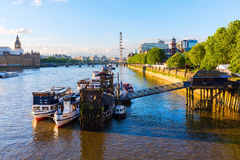 View of the river Thames in London, UK. London, UK - June 20, 2016: view of the river Thames in London. The Thames It is the longest river entirely in England stock images