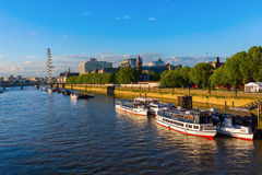 View of the river Thames in London, UK. London, UK - June 20, 2016: view of the river Thames in London. The Thames It is the longest river entirely in England royalty free stock photography