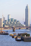 View of the River Thames and modern glazed office buildings, London, United Kingdom. LONDON, UNITED KINGDOM - JUNE 22, 2017: View of the River Thames and modern Royalty Free Stock Photo