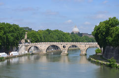 View of the river Tiber and the dome of St. Peter Royalty Free Stock Photography