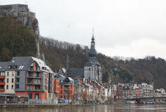 View from the river to the city of Dinant Stock Photo