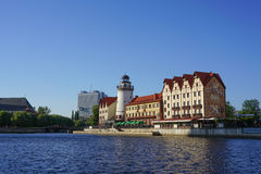 The view from the river to the sights of Kaliningrad. Fishing village Stock Image