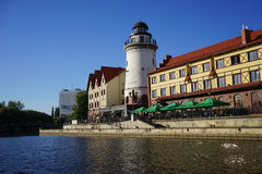 The view from the river to the sights of Kaliningrad. Fishing village Royalty Free Stock Photography