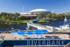 View of River Torrens and Adelaide Oval in. Adelaide, Australia - January 15, 2015: View of River Torrens and Adelaide Oval in Adelaide, Australia. These are the Royalty Free Stock Photos