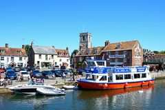 View of river and town buildings, Wareham. Royalty Free Stock Images