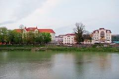 View of the river Uzh at city Uzhgorod, Transcarpathia, Ukraine Stock Photos