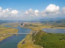View on the river valley Partizanskaya and mount Brother, autumn Royalty Free Stock Photography