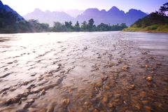 View of river in vangvieng 1 Royalty Free Stock Photos