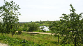 View of the River and vegetation in the Delta del Llobregat Stock Photos