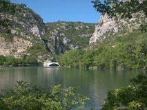 View of the river VERDON from the beach of QUINSON. stock photo