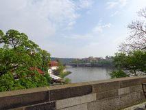 Charles Bridge Vltava river view on Prague town royalty free stock photography
