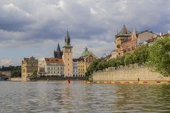 View of the river Vltava and the Old Town Hall Stock Images