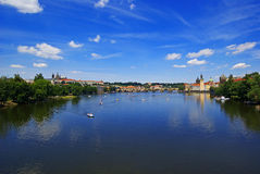 View from the river Vltava in Prague Czech Republic Stock Photo