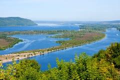 View on river Volga, Samara city. View on river Volga from a helicopter platform, the city of Samara Royalty Free Stock Photography