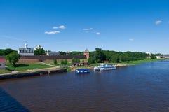 View at river Volkhov in Veliky Novgorod Stock Photos
