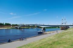 View at river Volkhov in Veliky Novgorod Royalty Free Stock Images