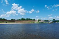 View at river Volkhov in Veliky Novgorod Stock Photography