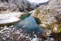 View of the river at winter in Takayama Stock Photo