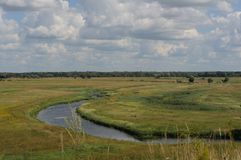 The view of the river and that yellow field from the hill on the summer sunny day Royalty Free Stock Photography