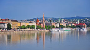 View of the riverside of Budapest city centre Royalty Free Stock Photo