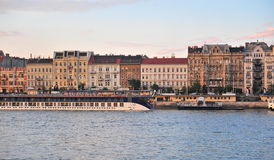 View of the riverside in centre of Budapest Royalty Free Stock Photography