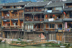 View of riverside houses in Fenghuang Stock Image