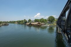 View Riverside restaurant near river Kwai and The Death Railway Bridge royalty free stock images
