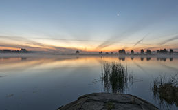 View on riverside before sunrise Royalty Free Stock Photo