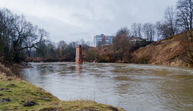 View from the Riverwalk in Chernyakhovsk, Russia of the Angrapa River as it reaches flood levels Stock Photos
