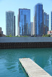 Chicago. View from Rivier Esplanade Chicage drainge canal to catch Chicago downtown Skyline royalty free stock images