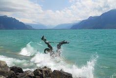 View of  riviera 's Lake Geneva  at Vevey Stock Photo