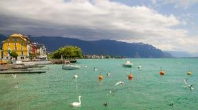 View of  riviera 's Lake Geneva  at Vevey Stock Image