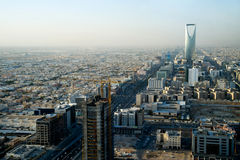View of Riyadh and Kingdom tower. View of Kingdom tower and Riyadh city from Faisaliah tower, Saudi Arabia Stock Photo
