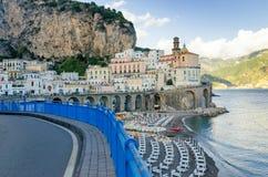View on road in amalfi coast in Atrani, Italy. Amalfi coast in Campania near naples Royalty Free Stock Photos