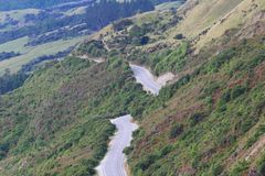 View of the road from Bennetts Bluff Lookout, Lake Wakatipu, New Zealand stock image