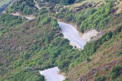 View of the road from Bennetts Bluff Lookout, Lake Wakatipu, New Zealand. View of the road from Bennetts Bluff Lookout, Lake Wakatipu, South Island, New Zealand royalty free stock images