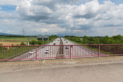 View from a road bridge to highway 66 west of Frankfurt Royalty Free Stock Images